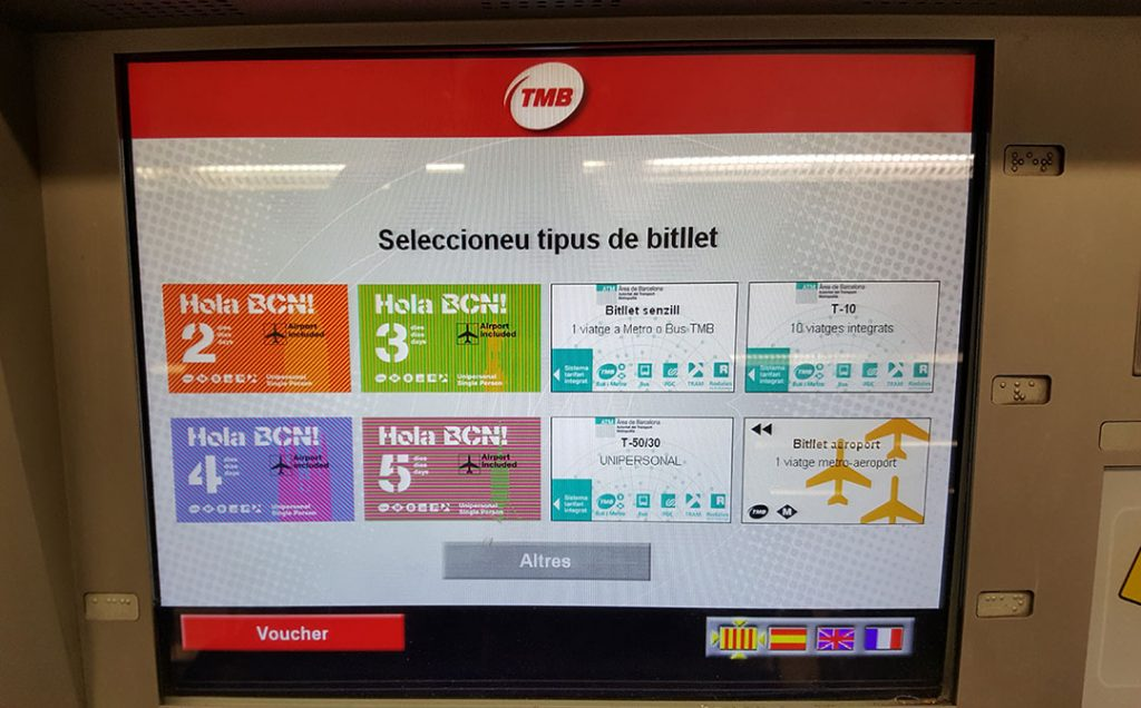 Ticket metro Barcelon